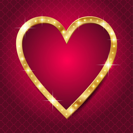 Shining gold frame with led lights in the shape of a heart on red background. Card for of St. Valentine