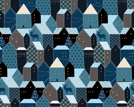 European country houses at the Chrismas night. Cute seamless pattern for your design and decoration
