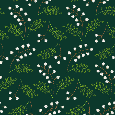 White embroidered berries on a dark green background. Seamless pattern for your design. Çizim