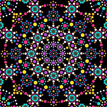 A mandala of colored dots on a black background. Abstract seamless pattern Vettoriali