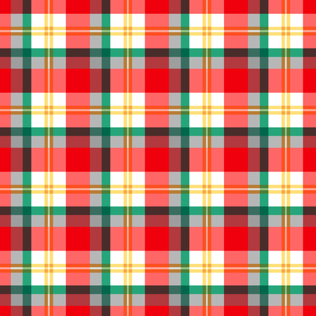 Checkered seamless pattern at the Scottish style for christmas decoration. Red and green on white