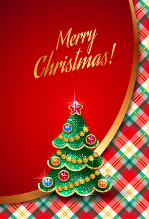 Template of elegant Christmas invitation card with checkered pattern on background and shiny christmas tree Vettoriali
