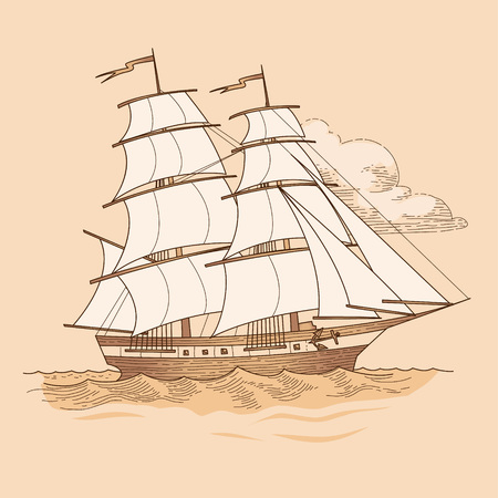 Sailing ship in vintage style. Vector illustration on beige background Vettoriali