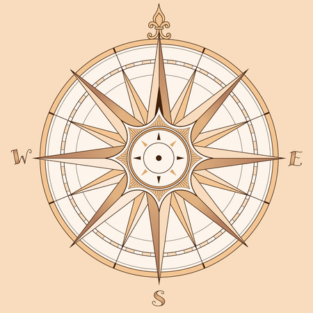 Sea compass at vintage style. Vector illustration on beige background Çizim