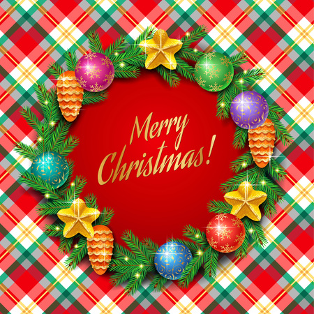 Template of elegant Christmas card with shiny christmas wreath on checkered background Vettoriali