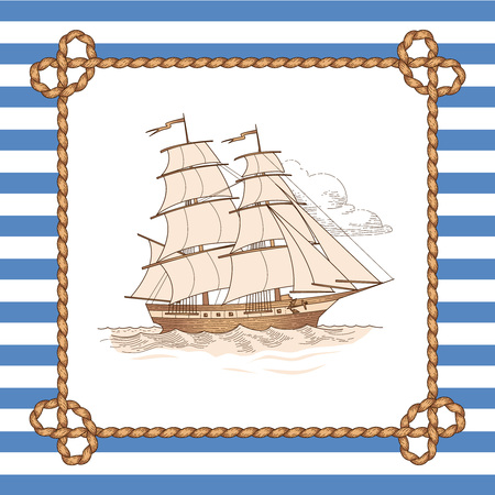 Sailing ship in rope frame on striped background. Vintage style illustration for marine design and decoration