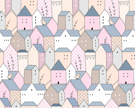 Cute scandinavian country houses with blue roofs. Light seamless pattern for your design
