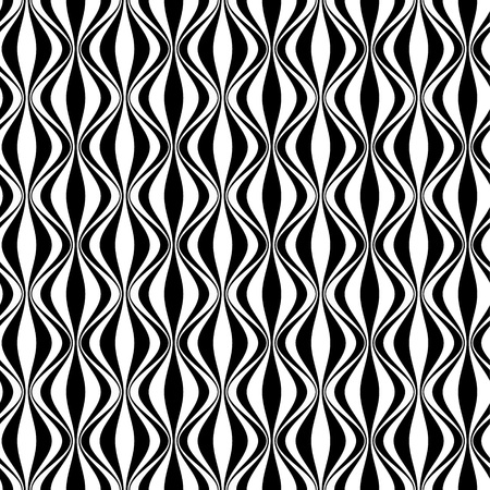 Vertical waves, black and white. Abstract seamless geometric pattern for your design