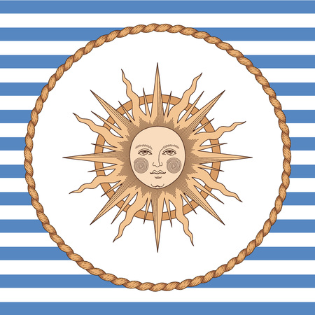 Sun in rope frame on striped background. Vintage style illustration for marine design and decoration Archivio Fotografico - 127271160