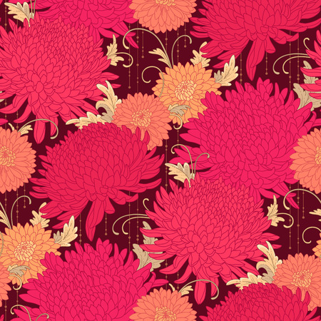 Red chrysanthemums on dark background. Floral seamless pattern for your design and decoration Vettoriali
