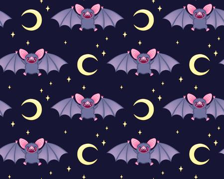 Cute bats in the night sky . Seamless pattern for Halloween. Vettoriali
