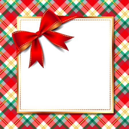 Template of elegant Christmas invitation card with red bow and golden frame on checkered background