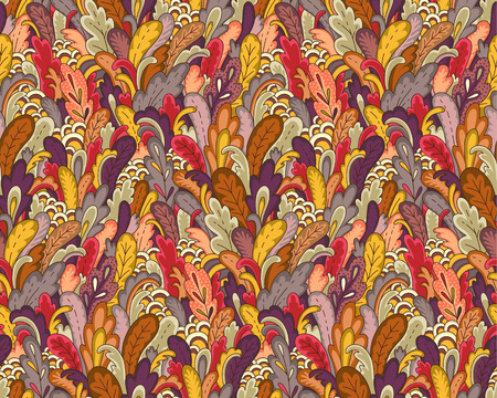 Autumn plants and leaves. Colorful doodle style illustration. Abstract seamless pattern for coloring, design and textile.