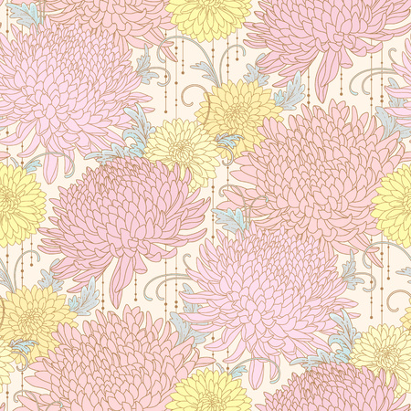 Pink and yellow chrysanthemums on light background. Floral seamless pattern for your design and decoration Archivio Fotografico - 127271163