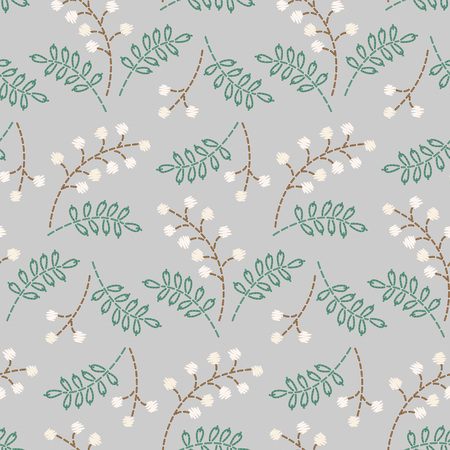 White embroidered berries on grey background. Seamless pattern for your design. Archivio Fotografico - 127271164
