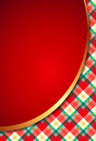 Template of elegant Christmas invitation card with checkered pattern on background