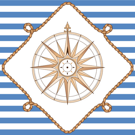Compass in rope frame on striped background. Vintage style illustration for marine design and decoration