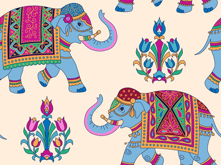 Indian style ornament  with blue elefpants and floral elements on light background. Seamless pattern for textile and decoration