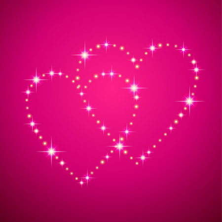 Two Led shining hearts  on pink background. Card for of St. Valentine