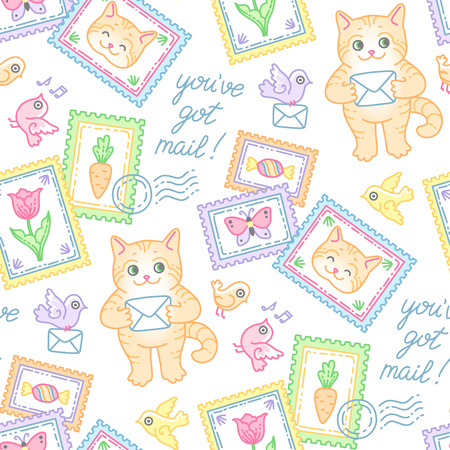Cute cat, stamps, envelopes and birds. Seamless pattern at cartoon style for design and decoration of postal items