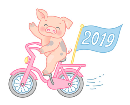 Happy pig rides a bike and wave his hand. Cute character at cartoon style isolated on white background, symbol of 2019 year Çizim