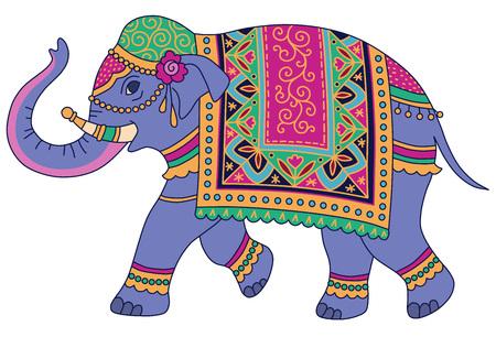 Niebieski słoń indyjski urządzony w tradycyjnym stylu. Ilustracja wektorowa na białym tle