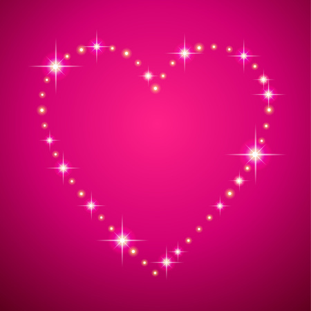 Led shining frame in the shape of a heart on pink background. Card for of St. Valentine Archivio Fotografico - 127271168