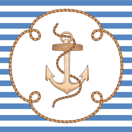 Anchor in rope frame on striped background. Vintage style illustration for marine design and decoration