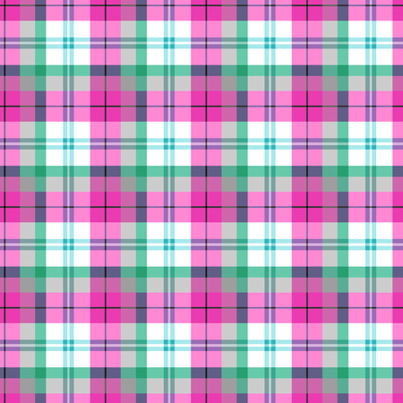 Checkered seamless pattern at the Scottish style. Pink and green on white