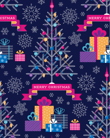 Christmas tree, gifts and snowflakes  on dark blue background. Christmas seamless pattern for textile, wrap and decoration