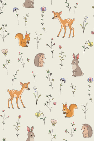 Cartoon forest animals, plants and flowers. Cute seamless pattern for your design and decoration.