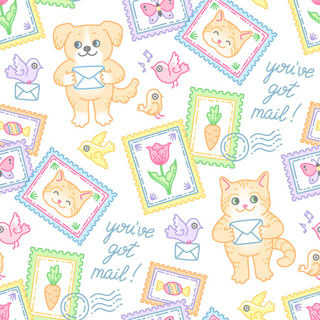 Cute cat, dog, stamps, envelopes and tiny birds. Seamless pattern at cartoon style for design and decoration of postal items Archivio Fotografico - 127271172