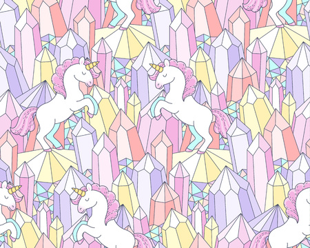 White unicorns and multicolor crystals. Cute seamless pattern for design and textile