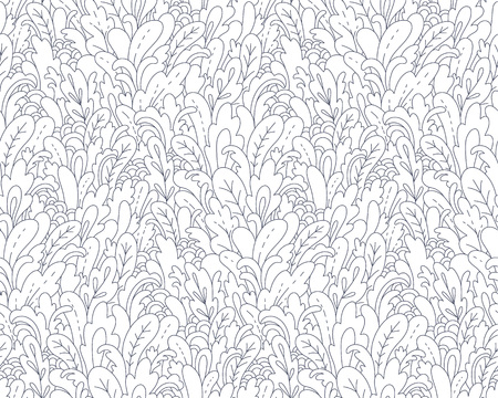 Field of fantasy plants. Doodle style illustration, monochrome grey on white background. Abstract seamless pattern for coloring, design and textile. Çizim