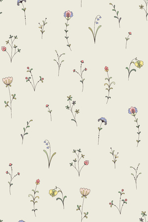 Tiny decorative plants and flowers. Abstract seamless pattern for your design and decoration.
