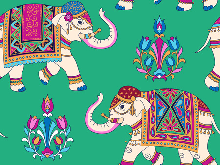 Indian style ornament  with white elefpants and floral elements on green background. Seamless pattern for textile and decoration
