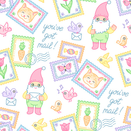 Garden gnomes, stamps, envelopes and tiny birds. Seamless pattern at cartoon style for design and decoration of postal items