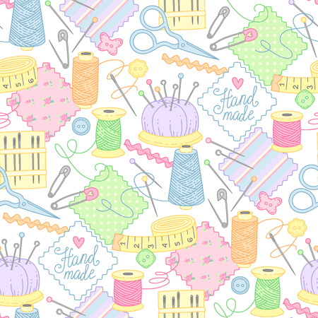 Tools and objects for sewing, embroidery and handmade on white background. Cute seamless pattern for textile, design and decoration