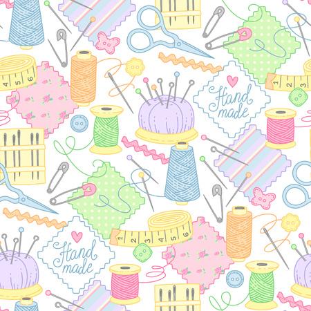 Werkzeuge und Gegenstände zum Nähen, Sticken und Handarbeit auf weißem Hintergrund. Nettes nahtloses Muster für Textil, Design und Dekoration