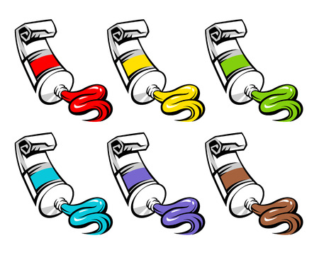 Set of various colors are squeezed out of the tube with paint. Graffity style illustration isolated on white background
