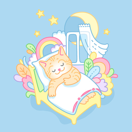 Red kitty sweetly sleeping and dreaming. Nice poster with  cartoon characterfor the children's bedroom.