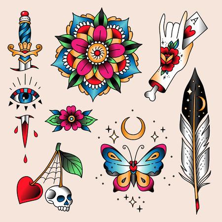 Conjunto de tatuajes de colores en estilo vintage tradicional. Símbolos místicos
