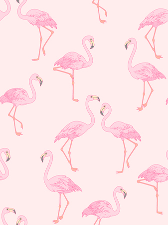Elegant flamingo on pink background. Trendy seamless pattern for your design and decoration  Çizim
