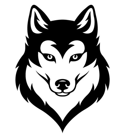 Cabeza de husky syberian estilizada. Emblema para equipo deportivo o tatuaje. Negro aislado en blanco