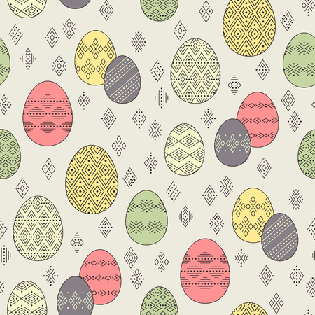 Color easter eggs with geometric ornament at ethnic style on beige background. Abstract seamless pattern for Easter design and decoration