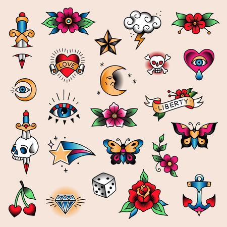 Conjunto de tatuajes de colores en estilo vintage tradicional. Pequeños símbolos