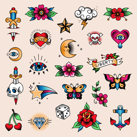 Set of color tattoos at traditional vintage style. Small symbols Ilustração