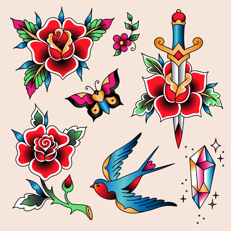 Set of  color tattoos at traditional vintage style. Rose flowers and swallow bird