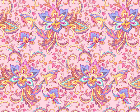 Paradise birds in the floral garden. Indian style seamless pattern for your design and decoration