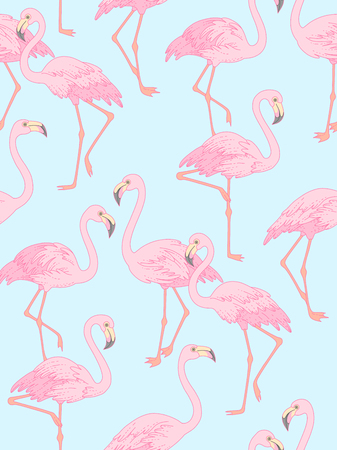 Elegant flamingo on blue background. Trendy seamless pattern for your design and decoration